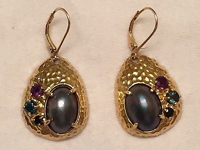 87278fff3 Tahitian Mabe Pearl Earrings with Gemstones 18K Gold Clad Sterling Silver  925