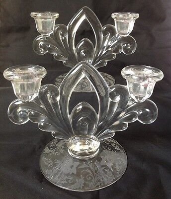 Pair of Cambridge Glass Wildflower Double Light Candle Stick Holder Etched