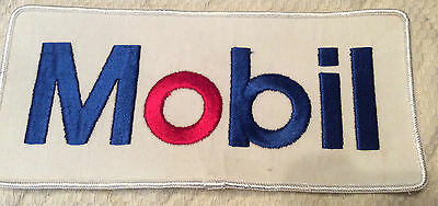 8 inch Mobil Oil, embroidered red, white and blue patch