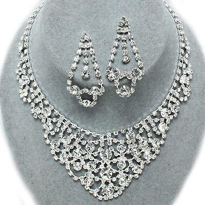 Clear Silver Rhinestone Crystal Necklace Earrings Bridal Formal Evening Party