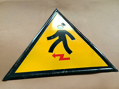 Vintage Tin Porcelain Enamel Sign Danger Electrical Shock Hazard 1960's