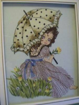 Finished Matsuhato Girl With Umbrella Punch Embroidery Picture #314