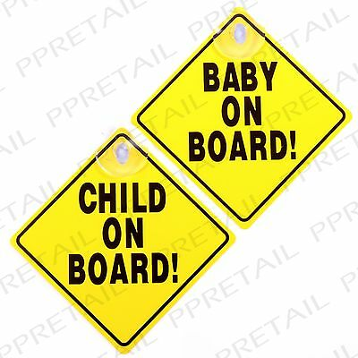 CAR CHILD SAFETY SIGNS +SUCTION CUPS Yellow Vehicle Window Sticker Baby On Board