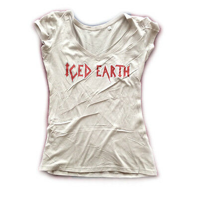 ICED EARTH - Vintage Red Logo - Girlie Girl Damen Woman Shirt - Größe Size M