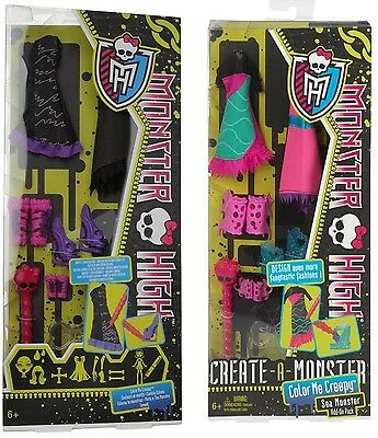 48x Monster High Color me Creepy, add-on, Create a, Mattel,Posten,Kleider schuhe