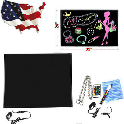 """LED Writing Board Fluorescent Erasable Remote Flashing Menu Message Sign 32""""x24"""""""