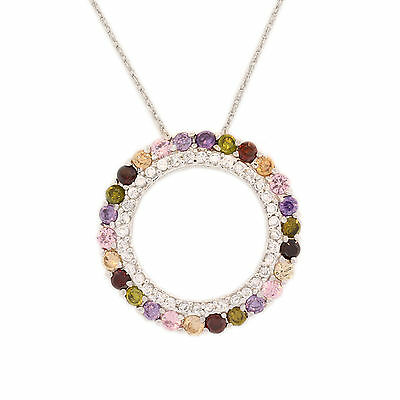 Circle Of Love Circle Of Color Beautiful Silver Pendant  Cz Stones