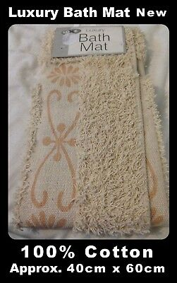 Luxury Bath Mat 100% Cotton - Peach Pattern - For Bathrooms New Tagged