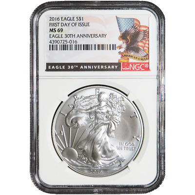 2016 $1 American Silver Eagle NGC MS69 First Day of Issue Black Label