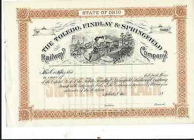 18__Toledo,Findlay and Springfield RR Stock Certificate  - Ohio