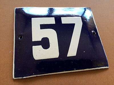 ANTIQUE VINTAGE FRENCH ENAMEL SIGN HOUSE NUMBER 57 DOOR GATE BLUE 1950's