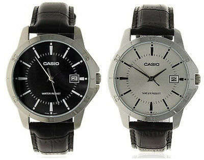 Casio Men's Analog Quartz Stainless Steel Black Leather Watch