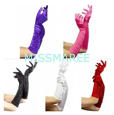 Smiffys Ruched long satin costume gloves Black White red purple pink Burlesque