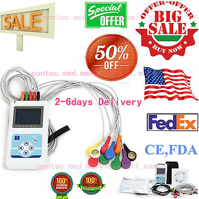 Portable 12-Channel 24H ECG EKG Holter Analyze System Recorder Monitor,Software