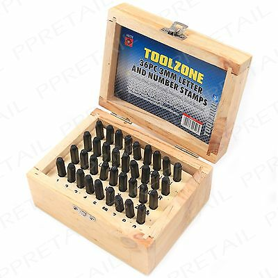 36Pc METAL 3mm Letter Number Name Punch Stamps Tools Machinery Personal Marking
