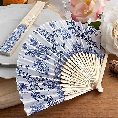 6 X Hand Held Folding Elegant French Country Design Fans Wedding & Party Favours