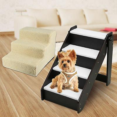 Portable Multi Steps Dog Cat Doggy Pet Stairs Ramp Ladder Washable Plush Cover