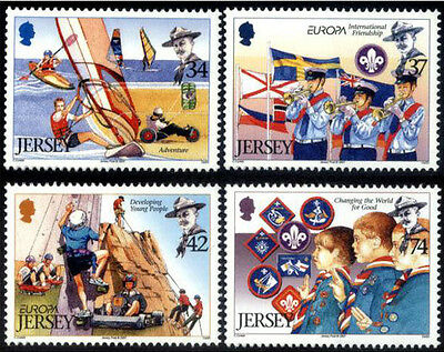 Jersey Europa 2007 stamps set scouts scouting sports MNH mint NH