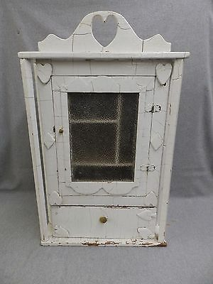 Antique Folk Art Medicine Cabinet Cupboard Old Vtg Shabby Cottage Chic 728-16
