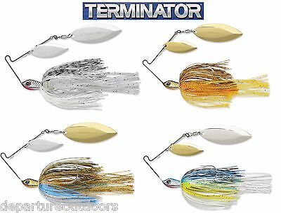 TERMINATOR STAINLESS PULSE SKIRT SPINNERBAIT DOUBLE WILLOW 1/2 OZ select colors