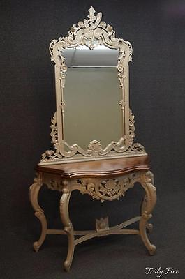 Louis XV French Rococo Hand Carved Foyer Console with Mirror Entryway Table