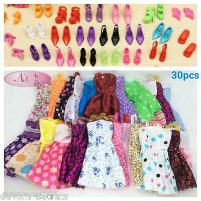 30x bundle girl toy doll FITS BARBIE dress party dresses outfits shoes sets BC55