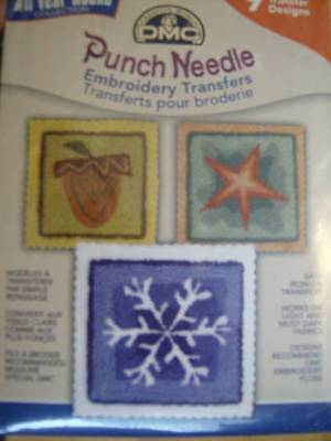DMC Punch All Year 'Round With 9 Iron-On Transfers- Snowflake, Clover, US, Umbre