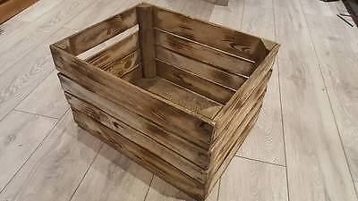 Burnt Tourched Wood Vintage Wooden Apple Fruit Crate Rustic Old Bushel Box....