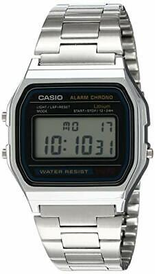 Casio A158WA-1 Men's Vintage Metal Band Chronograph Alarm Digital Watch