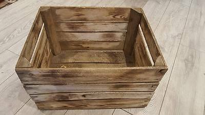 6 x BURNT TOURCHED WOOD VINTAGE WOODEN APPLE FRUIT CRATE RUSTIC OLD BUSHEL BOX..