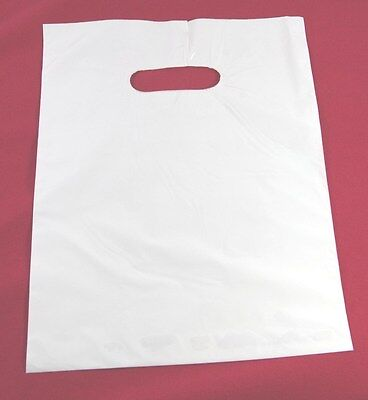 """100 9"""" x 12"""" WHITE  GLOSSY Low-Density Plastic Merchandise or Party Bags 1.25mil"""