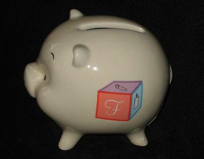 """Russ Berrie 3/"""" Ceramic Baby or Child Piggy Bank Intial K on side New In Box"""