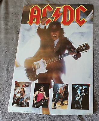 AC/DC 5 Pix 1988 Angus Young Cliff Williams Brian Johnson Live Concert Poster VG