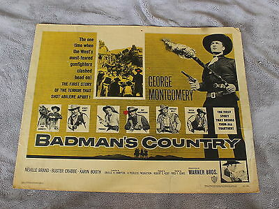 Badman's Country 1958 Buster Crabbe George Montgomery Half Sheet Poster GVG C5