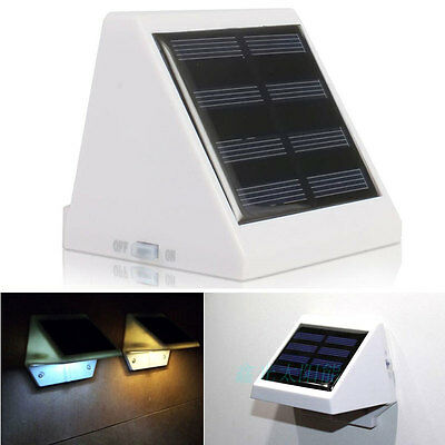 Solar Power 4 LED Security Wall Garden Light Outdoor Fence Path Yard Gutter Lamp