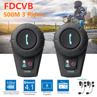 2x BT 500m Motorcycle Bluetooth Helmet Intercom Headset 3Riders Communication FM