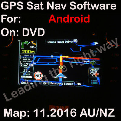 GPS sat navi SOFTWARE + MAP for Australia / NZ ANDROID maps 11.2016 on DVD