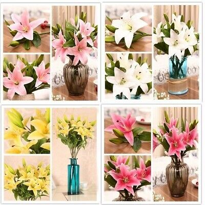 Home Wedding Garden Decor Artificial Fake Lily Silk Flower Gerbera Hydrangea