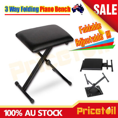 OZ Adjustable Foldable 3 Way Folding Keyboard Portable Piano Stool Bench Seat