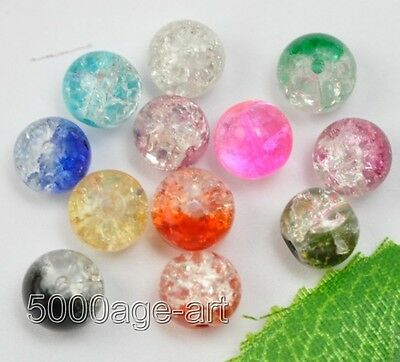 50pcs mixed color Crackle Art Crystal Glass Round Beads charm bead 6mm