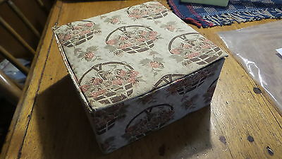 Antique CLOTH COVERED Home Made HANKY SEWING BOX Primitive, Early