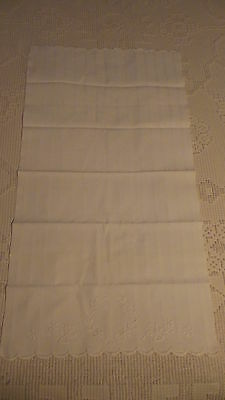 Antique COTTON HUCK DAMASK STRIPE EMBROIDERED GUEST TOWEL