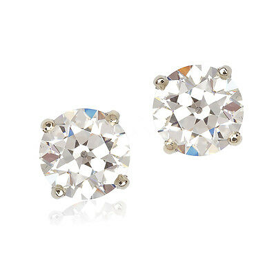 Classic 14KWG Custom Antique Style Old European Cut CZ Stud Earrings 1.50 CT Ea
