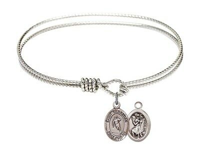 Silver Tone  Bangle Bracelet with Saint Sebastian Rugby Charm, 7 1/4 Inch