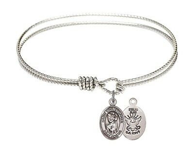 Silver Tone  Bangle Bracelet with Saint Christopher Navy Charm, 7 1/4 Inch