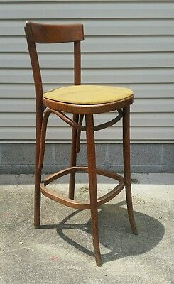 Rare antique bent wood Cafe Chair Thonet Vtg Mid Century Stool Shop Diner Bar