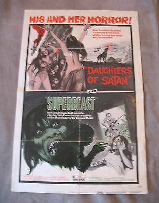 DAUGHTERS OF SATAN/ SUPER BEAST 1972 Double Bill Feature One Sheet Poster 01-09