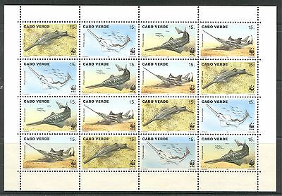 SAW FISH, WWF ON CAPE VERDE 1997 Scott 716 SHEET CONTAINING 4 SETS, MNH