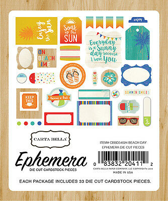 Carta Bella Paper  Beach Day Collection  Ephemera Die Cuts 2016