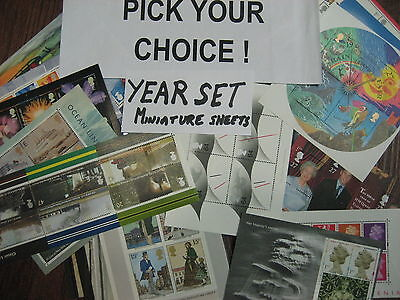 Pick any MINIATURE SHEETS  YEAR SET at Cheaper Price! 1978 - 2012 MS1058 - 3422